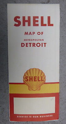 1954 Detroit metro  road map Shell oil  gas downtown streets Michigan