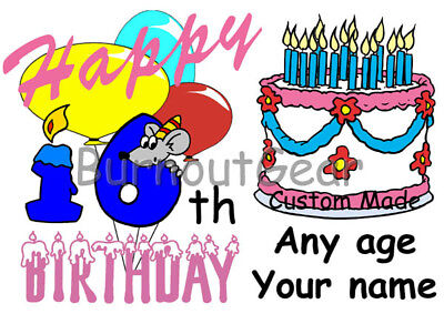 GIRLS FUNNY PERSONALIZED HAPPY BIRTHDAY  T-SHIRT For Any Age 1 to 101+