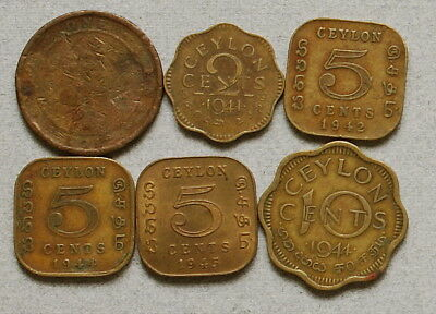 CEYLON 1,2,5,10 Cents 1912-1945 - Lot of 6 British Colonial Coins, No Res.!