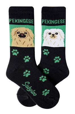 Pekingese Socks Lightweight Cotton Crew Stretch Egyptian Made Green