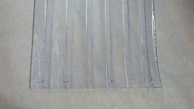 """RIBBED DOOR STRIP ~ PERFORATED ~  12"""" x 7 ft x 110 mil  CLEAR PVC VINYL"""
