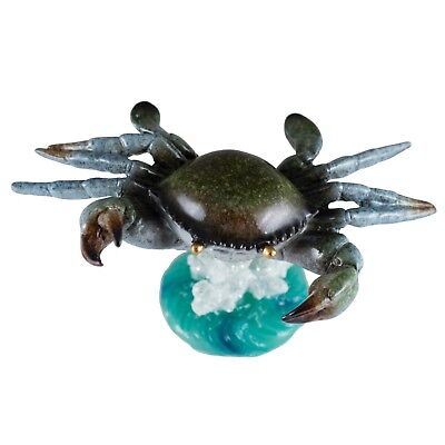 """Bobble Crab On Spring Figurine 5.25"""" Long Glossy Finish Resin New!"""