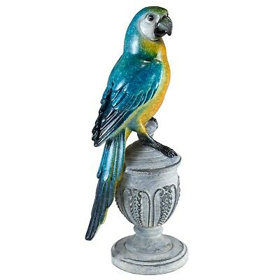 """Blue Parrot Macaw On Urn Bird Figurine 7.5"""" High Glossy Finish Resin New!"""