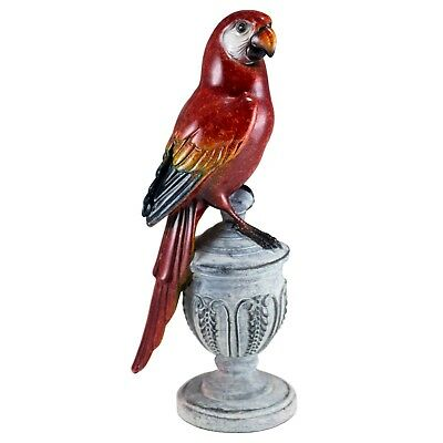"""Scarlet Red Parrot Macaw On Urn Bird Figurine 7.5"""" High Glossy Finish Resin New!"""