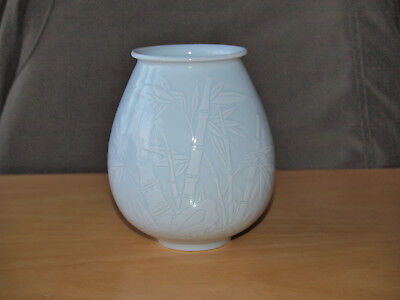 Quality Chinese or Oriental Porcelain Incised Bamboo Design Vase, Two Char. Mark