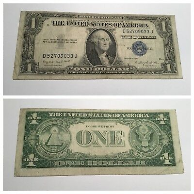 Vintage 1935-G Rare With Motto $1 Silver Certificate Washington One Dollar Bill