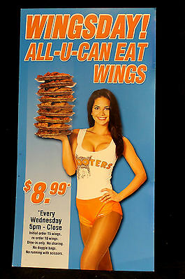 Hooters All U Can Eat Wings Pr Sign Mini Poster halloween costume uniform xtra