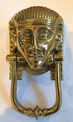 Antique Brass Door Knocker Egyptian Revival Period Pharaohs Head