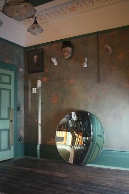 Huge Concave Distortion Mirror Antique Curio Unusual Industrial