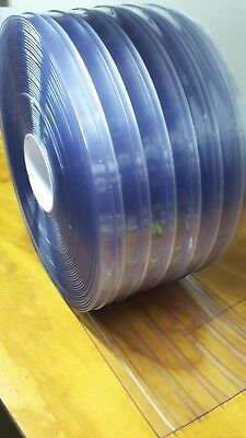 "CLEAR PLASTIC DOOR STRIP   RIBBED     12"" x 9 ft x 110 mil  CLEAR PVC VINYL"