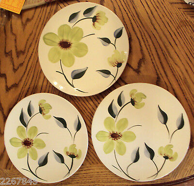 Blue Ridge Luncheon Plate LOT Green Eyes Floral Hand Painted Southern Pottery