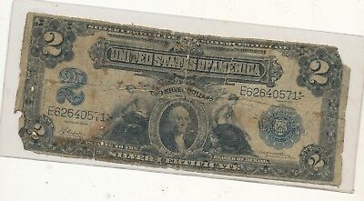 1899 $2 Silver note damaged