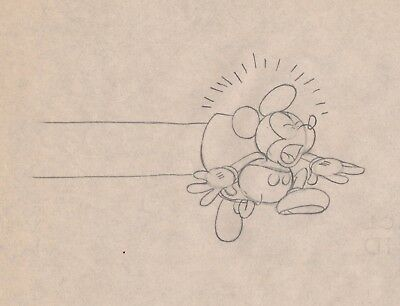 1930's Mickey Mouse original production animation cel drawing Disney
