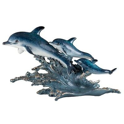 "Three Dolphins On Wave Figurine 12.5"" Long Glossy Finish Resin New!"