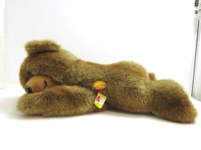 """Steiff Super Molly 28"""" Laying Down Brown Teddy Bear With Tags / Button 0341/65"""