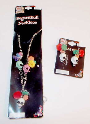 Day of the Dead Necklace Earrings Clay Skull Flowers Halloween Accessory NIP