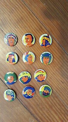 old Group of 12 Diff Cowboy & Indian  Pinback Button s,Cereal Premium s