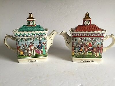 2pcs SADLER England Championships Teapots A DAY A THE RACES - THE TENNIS MATCH