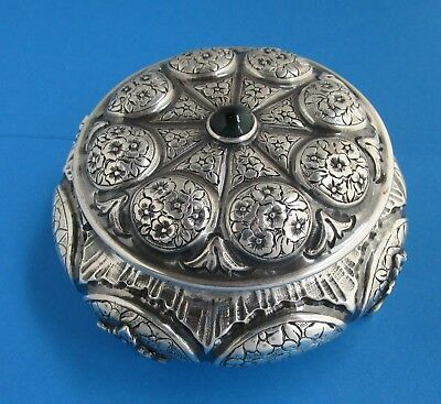 Antique 800 fine Silver Footed Dresser Box 1870-1900