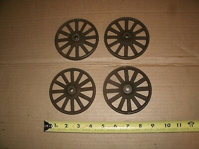 4 Vintage Cast Iron Wheels Steampunk Hardware Industrial Wall Art Part Lot  4 ""