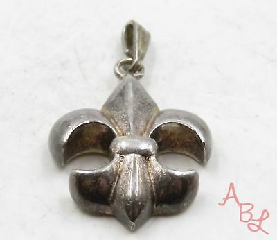 Sterling Silver Vintage 925 Fleur De Lis Dangle Pendant (5.7g) - 707862