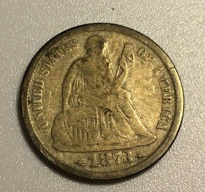 1873s Seated Liberty Dime Better Date, Nice Original VG Coin, Lowest On EBay!