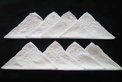 VINTAGE NAPKINS x 8 ~ WHITE LINEN, LACE, HIGH TEA, COUNTRY, FRENCH, SHABBY CHIC