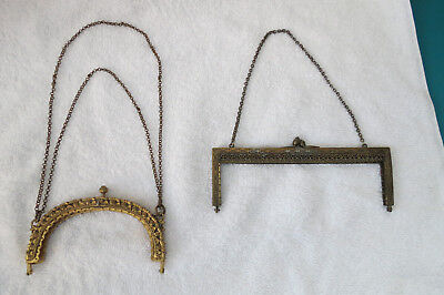 2 antique metal purse frames,ornate handle hardware,frame,art deco,victorian?