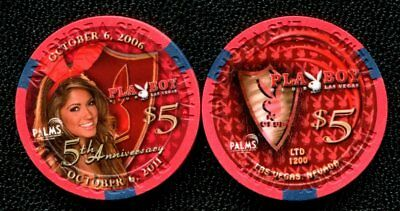 $5 Las Vegas Palms Playboy 5th Anniversary Casino Chip - UNCIRCULATED