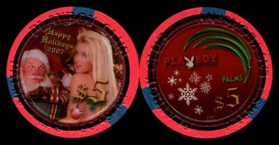 $5 Las Vegas Palms Playboy Happy Holidays 2007 Casino Chip - UNCIRCULATED