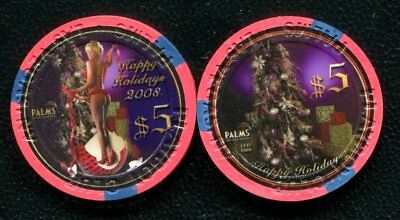 $5 Las Vegas Palms Happy Holidays Christmas 2008 Casino Chip - Uncirculated