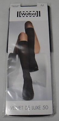Wolford Velvet De Luxe 50 Knee-Highs 30923 Size M - Black