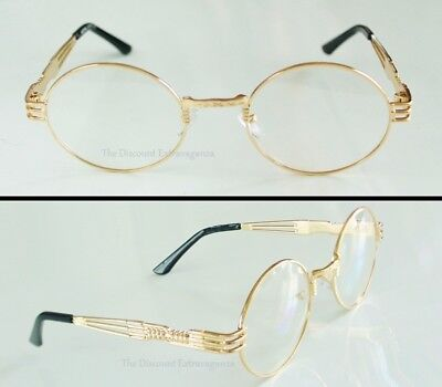 Large BIG OVAL Eye Clear Len Glasses Ornate Gold Metal WIDE FIT Sunglass Frame