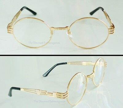 Large OVAL Eye Clear Lens Glasses _ Ornate Gold Metal COMFORT FIT Sunglass Frame
