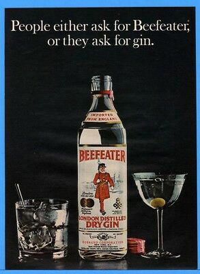 1973 Beefeater London Distilled Dry Gin Bottle Cocktail Martini Print Ad