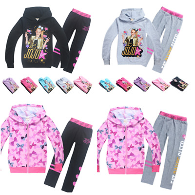 UK Kids Girls JoJo Siwa Hoodies Casual Cartoon Tops Sweatshirt Clothes+trousers