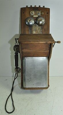Antique Wooden Wall Crank Upright Telephone -UNBRANDED- for Parts/Repair/Dislpay