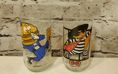Mcdonalds Character Glasses 1977 Action Series Set 2 Vintage Big Mac Hamburglar