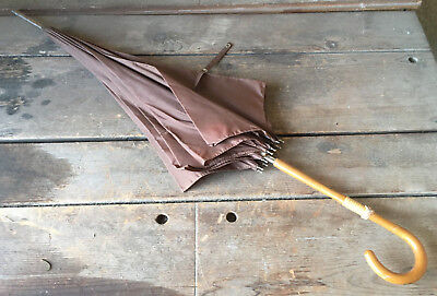 "Parasol Umbrella Brown Vinyl Fabric 34"" Long Curved Handle Wood Light Antique"