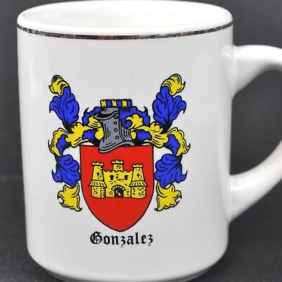 Gonzalez Coat of Arms Family Crest Vtg Coffee Mug Tea Cup Americana Art China US