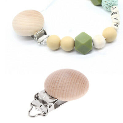 Children Wooden Natural Pacifier Holder Clip Infant Round Nipple Clasps For Baby