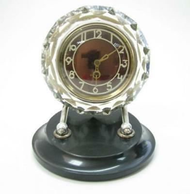 Old Vintage Russian Russia Soviet Majak Desk Table Clock Crystal Glass Work