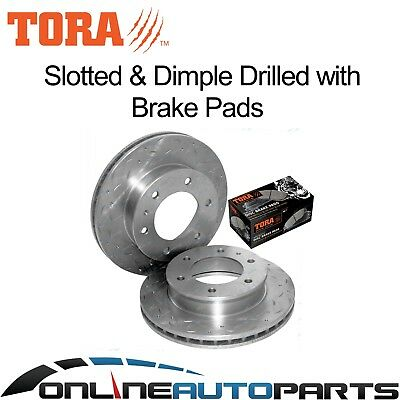 2 Front Dimpled + Slotted Disc Rotors + Brake Pads Mazda BT-50 2006-10/2011 Ute