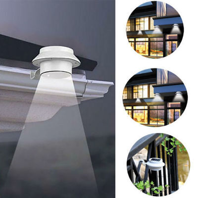 3 LED Gutter Solar Powered Light Wall/Fence/Pathway Lamp Outdoor Garden Yard