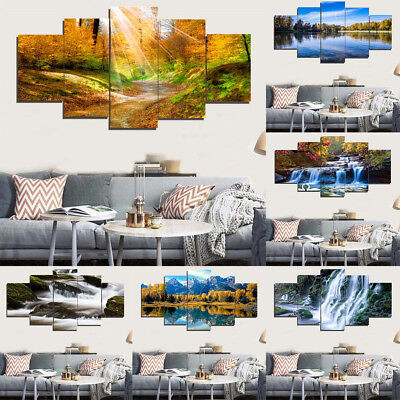 Decorative 5pcs Painting PVC Wall Art Poster No Frame Picture For Home Shop
