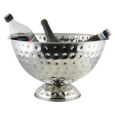 Hammered Steel Bottle Cooler Ice Punch Bowl