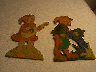 2 Vintage German Wood Fretwork Gnome #BE
