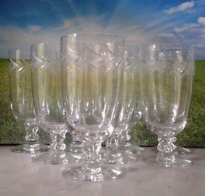 """8 Fostoria Holly Crystal Clear Stem Ware Etched Glass Juice Goblets 4 5/8"""""""