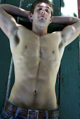 Shirtless Male Muscle Jock Frat Boy Jeans Laying Down PHOTO Pinup 4X6 P666******