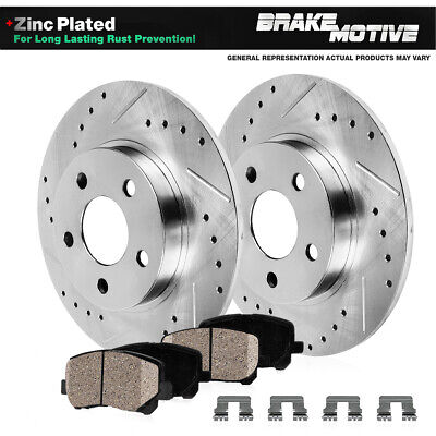 Rear Drilled & Slotted Brake Rotors & Ceramic Pads 2009 2010 2011 2012 Acura TL